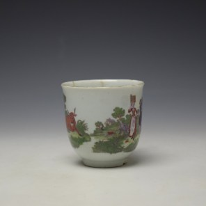 Worcester Milkmaids Pattern Hand Coloured Coffee Cup c1775-80 (2)