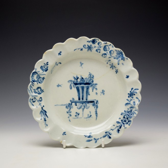 Liverpool James Pennington Blue and White Scalloped Plate c1770 (1)