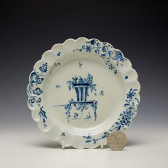Liverpool James Pennington Blue and White Scalloped Plate c1770 (2)