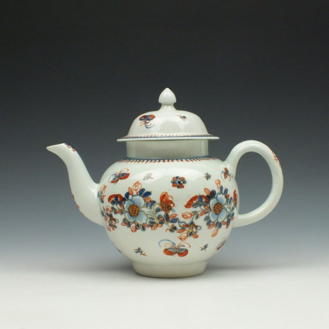 Liverpool John Pennington Profile Bud Pattern Teapot and Cover c1775-85 (1)
