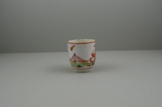 Lowestoft Porcelain Lady Seated Under a Tree Pattern Coffee cup, C1785-95. 3
