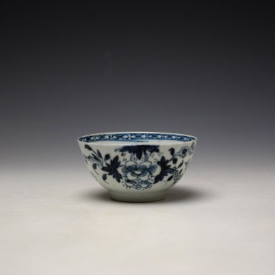 Liverpool Philip Christian Bird in Branches Pattern Teabowl and Saucer c1766-70 (2)