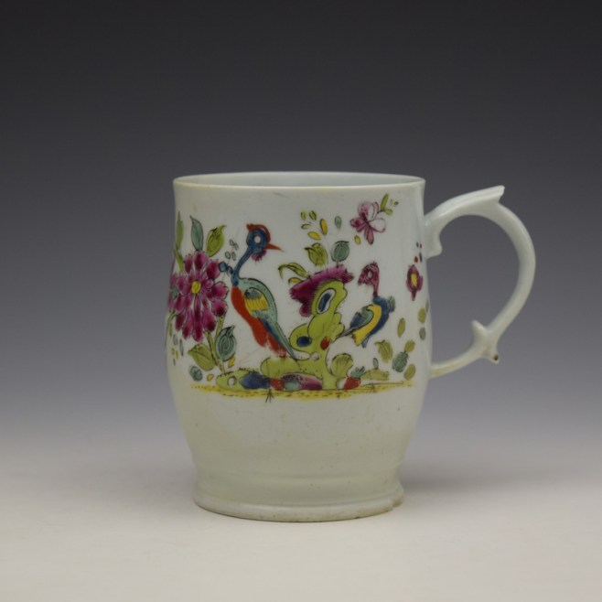 Longton Hall Fancy Bird and Rock Pattern Bell Shaped Mug c1755 Ex Watney Collection (1)