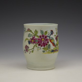 Longton Hall Fancy Bird and Rock Pattern Bell Shaped Mug c1755 Ex Watney Collection (3)