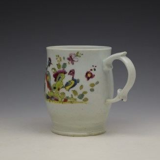 Longton Hall Fancy Bird and Rock Pattern Bell Shaped Mug c1755 Ex Watney Collection (8)