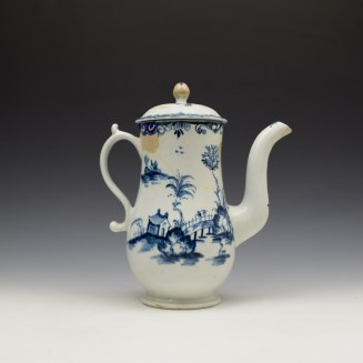 Lowestoft Two Storey Pagoda Pattern Coffee Pot and Cover c1765-70 (5)