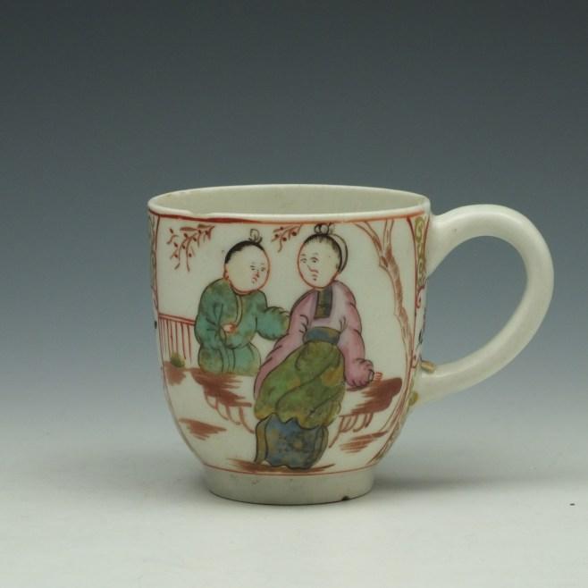Lowestoft Mandarin Chinese Lovers Pattern Coffee Cup c1785-95 (1)