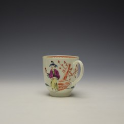 Worcester Mandarin Lady Holding Flowers Pattern Coffee Cup c1770-75 (5)