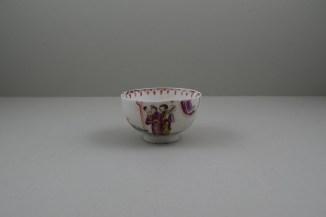 Lowestoft Porcelain Mandarin vase and Purple Curtains Pattern Teabowl and Saucer, C1780-85 (2)
