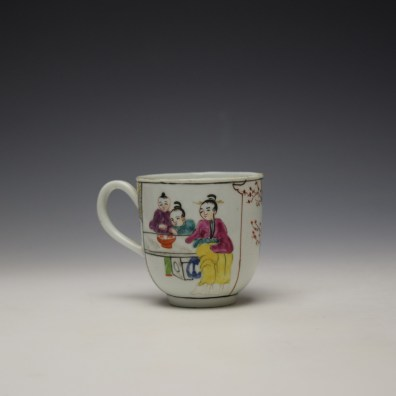 Worcester Mandarin Mother and Child Under a Tree Pattern Coffee Cup c1770-80 (3)