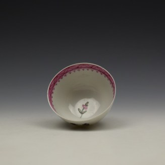 New Hall Rose and Floral Sprays Within a Pink Border Pattern Teabowl and Saucer c1800 (5)