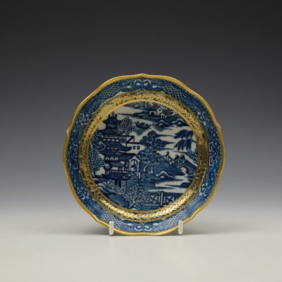 Caughley Pagoda Pattern Teabowl and Saucer c1782-92 (8)