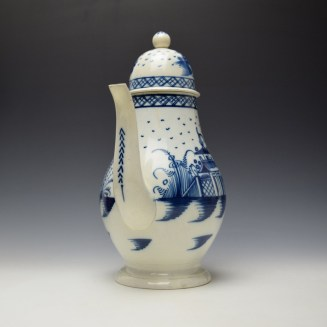 English Pearlware Candle Fence Pavilion Pattern Coffee Pot and Cover c1780-1800 (2)