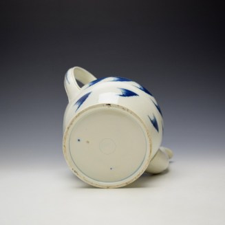 English Pearlware Candle Fence Pavilion Pattern Coffee Pot and Cover c1780-1800 (7)