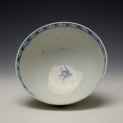 Lowestoft Peony Fence and Bamboo Pattern Slop Bowl c1770-75 (3)