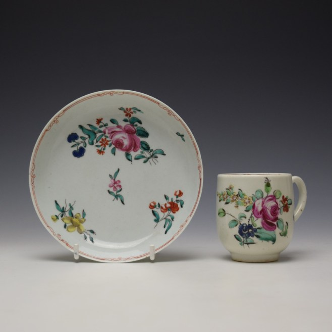 Liverpool Philip Christian Rose and Floral Sprays Pattern Coffee Cup and Saucer c1770 (1)