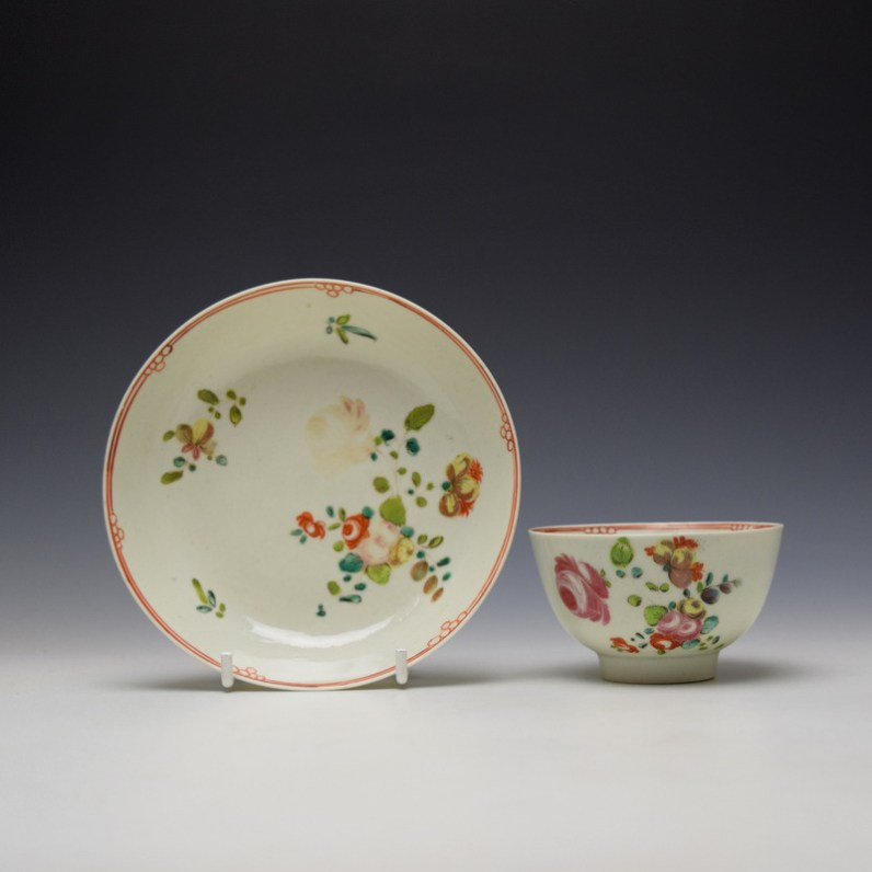 Liverpool Philip Christian Rose and Floral Sprays Pattern Teabowl and saucer c1770-75 (1)