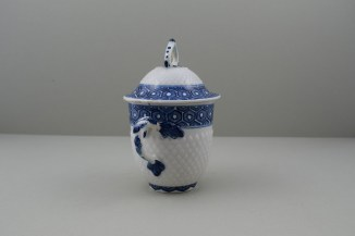 Bow Porcelain Pinecone Moulded Cell Border Pattern Chocolate Cup Cover and Stand. 3