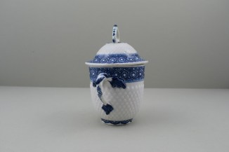 Bow Porcelain Pinecone Moulded Cell Border Pattern Chocolate Cup Cover and Stand. 7
