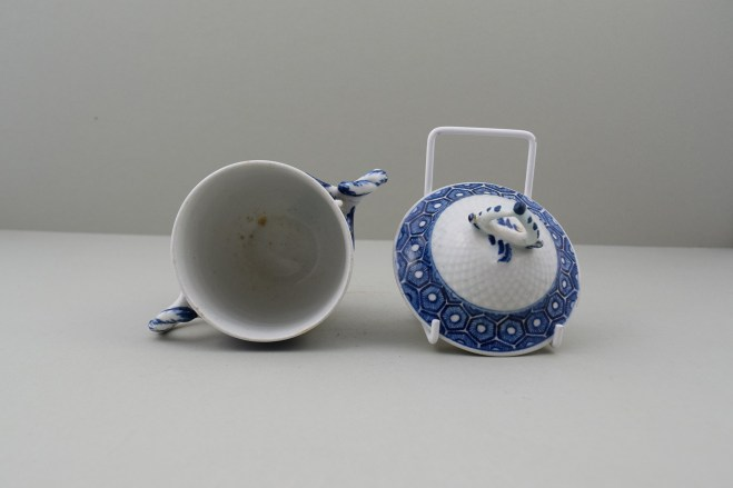 Bow Porcelain Pinecone Moulded Cell Border Pattern Chocolate Cup Cover and Stand. 9
