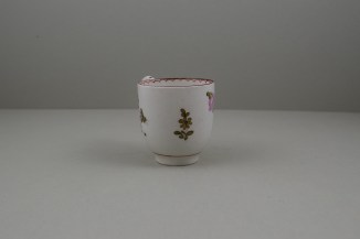 Lowestoft Porcelain Pink and Purple Flowers Tulip Painter Coffee Cup, C1770-75 (3)