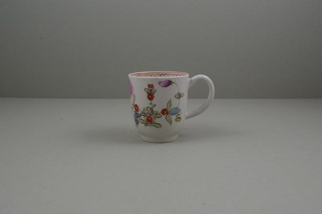 Lowestoft Porcelain Pink Flower Sprays Pattern Coffee Cup, C1785 (1)