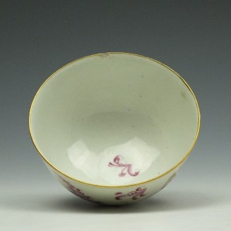 Worcester First Period Puce Floral Pattern Trio c1765-75 (13)