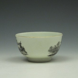 Rare Worcester Drovers Pattern Bat Printed Teabowl c1770 (4)