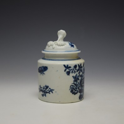 Worcester Three Flowers Pattern Mustard Pot and Cover c1785 (2)
