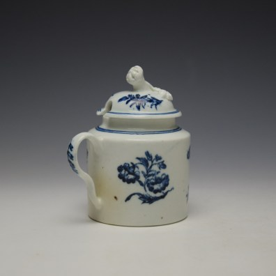 Worcester Three Flowers Pattern Mustard Pot and Cover c1785 (4)