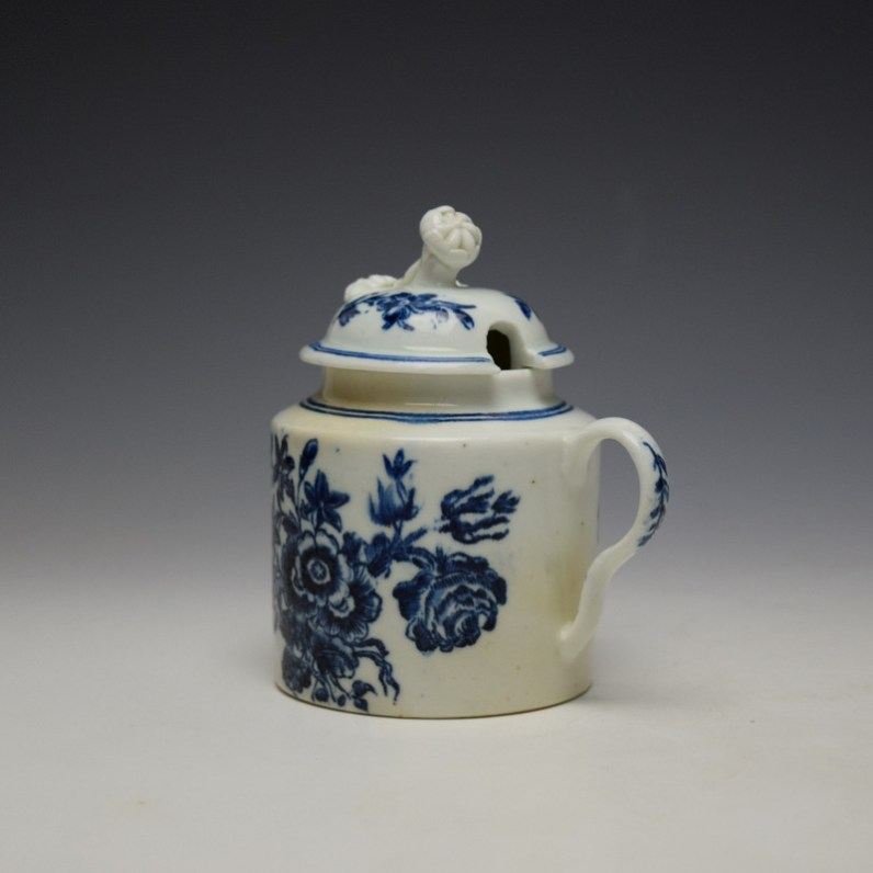 Worcester Three Flowers Pattern Mustard Pot and Cover c1785 (6)