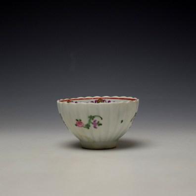 Lowestoft Fluted Curtis Floral Pattern Teabowl and Saucer c1780 (4)