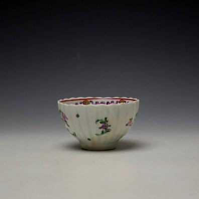 Lowestoft Fluted Curtis Floral Pattern Teabowl and Saucer c1780 (5)