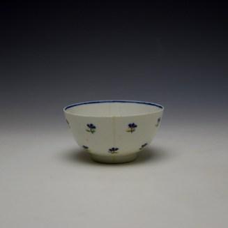 Lowestoft Rare Monogramed Cornflower Sprigs Pattern Teabowl and Saucer c1785-95 (5)