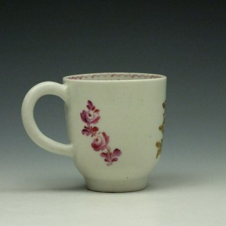 Lowestoft Tulip Painter Pink Monochrome Floral Coffee Cup c1785-90 (3)