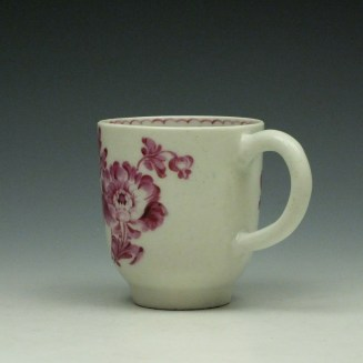 Lowestoft Tulip Painter Pink Monochrome Floral Coffee Cup c1785-90 (4)