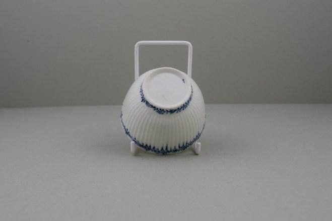 Lowestoft Porcelain Ribbed Flower band Border Pattern Teabowl and Saucer, C1770 (9)