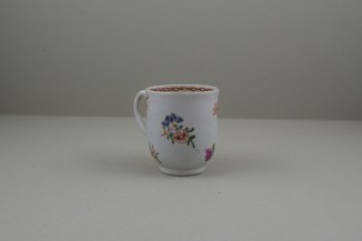 Liverpool Porcelain Richard Chaffers Rose, Flowers and Moth Pattern Coffee Cup, C1760 (3)