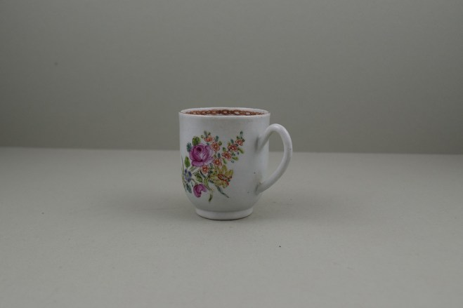 Liverpool Porcelain Richard Chaffers Rose, Flowers and Moth Pattern Coffee Cup, C1760 (6)