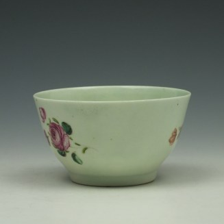 Liverpool Richard Chaffers Rose Pattern Teabowl and Saucer c1760-62 (4)