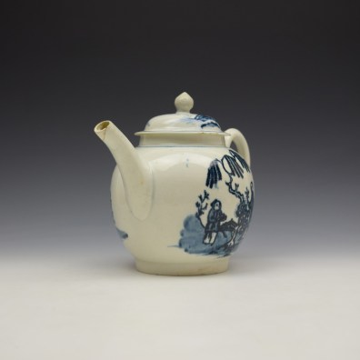 Liverpool Seth Pennington Lady and Servant Pattern Teapot and Cover c1790 (2)