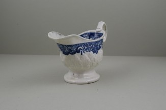 Liverpool Porcelain Seth Pennington Moulded Cell and Flower Border Pattern Sauceboat, C1785-90 (2)