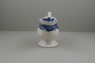 Liverpool Porcelain Seth Pennington Moulded Cell and Flower Border Pattern Sauceboat, C1785-90 (3)