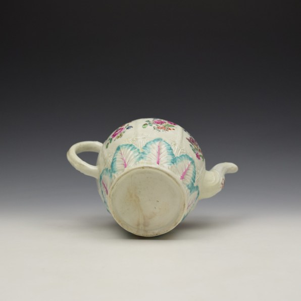 Liverpool Seth Pennington Moulded Floral Pattern Teapot and Cover c1785-95 (10)