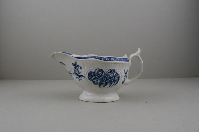 Worcester Porcelain Strap Flute Floral Pattern Sauceboat, C1770-80 (1)