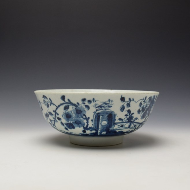 Worcester The Prunus Fence Pattern Large Bowl c1755-60 (1)