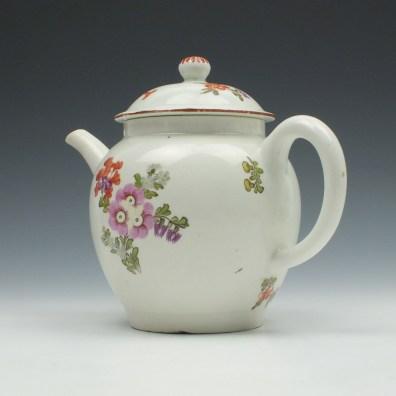 Lowestoft Porcelain Tulip Painter Teapot and Cover c1770 (6)