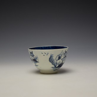 Lowestoft Two Pagoda and Cherry Tree Pattern Teabowl and Saucer c1790-95 (3)