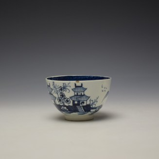 Lowestoft Two Pagoda and Cherry Tree Pattern Teabowl and Saucer c1790-95 (6)