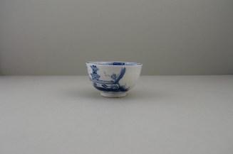 Lowestoft Porcelain Two Pagoda Bridge Landscape pattern Teabowl and Saucer, C1775-90 (15)
